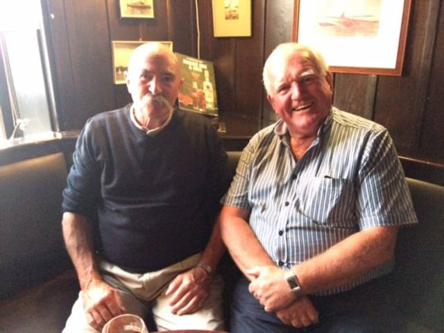 Fifty years of service – Willie Lee (left) with former Crosshaven Boatyard Managing Director Wally Morrissey at the party on Friday