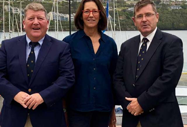 Kinsale Yacht Club Commodore Dave Sullivan (left), Regatta Director Ruth Ennis and Vice-Ccommodore Michael Walsh at the launch of #Squib2020Kinsale