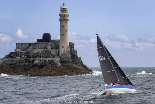 The new JPK 10.30 Leon rounds the Fastnet Rock at 5.0pm yesterday. Sailed by her builder Jean-Pierre Kelbert and Alex Loisson, she currently leads the Fastnet Race Two-Handed Division and is first in IRC3 and IRC3B