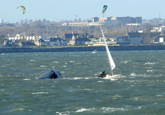 Big winds for Laser racing at Howth Yacht Club