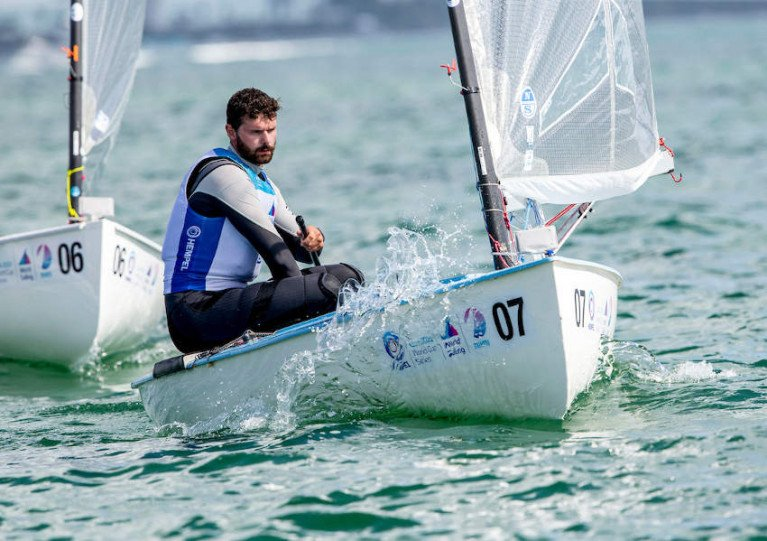 Oisin McClelland in yesterday's Finn medal race in Miami