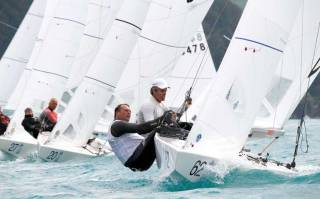 Peter O'Leary (right) and Joost Houweling racing in the Star at Attersee