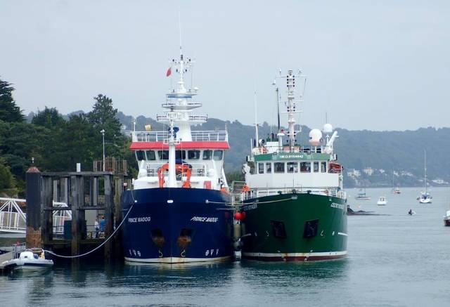 Welsh RV Prince Madog of Bangor University and Irish counterpart RV Celtic Voyager of the Marine Institute, Oranmore, Co. Galway, berthed at Menai Bridge Pier, Anglesey, north Wales (in Sept. 2017) during the official launch of the BlueFish Project, a collaboration between the two nations to examine the effect of climate change on fish and shellfish sustainability in the Irish Sea. AFLOAT adds the design of RV Prince Madog (2001) is based on the older Irish vessel (1997) though the Welsh RV is some 4m longer, however the similarities end in terms of a significantly different superstructure on the Menai Strait based vessel. In the 2018 Irish budget provision was made to replace the RV Celtic Voyager with a 50m newbuild.
