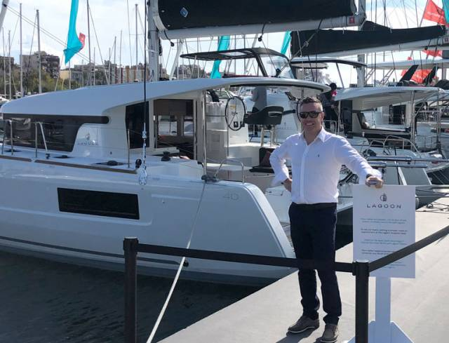 Ross O'Leary of MGM Boats on the Lagoon stand at this week's Barcelona Boat Show