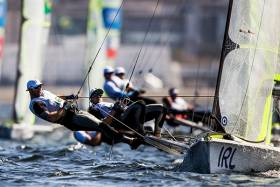 Ballyholme's Ryan Seaton and Matthew McGovern are fourth overall in the 49er