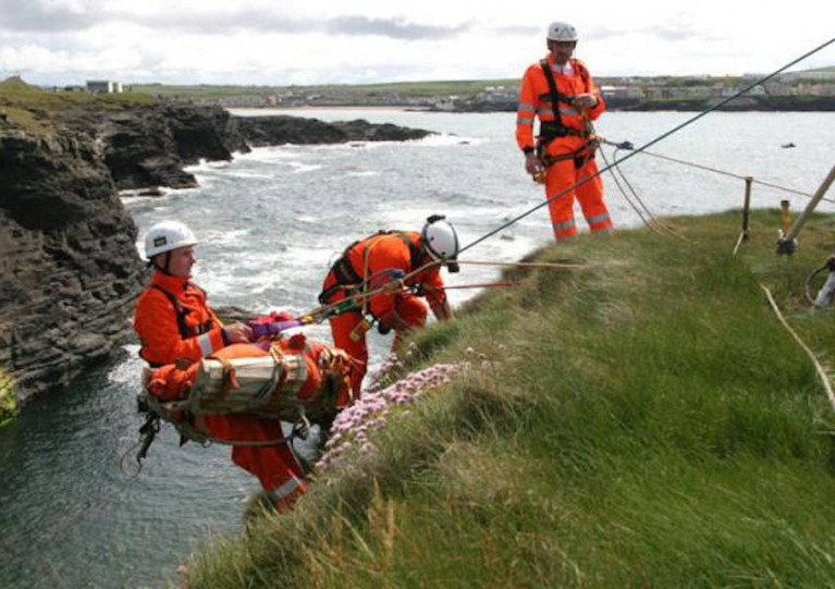 File image of an Irish Coast Guard cliff rescue team in action