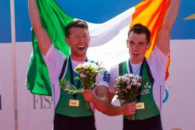 Mark O'Donovan and Shane O'Driscoll with European Gold.