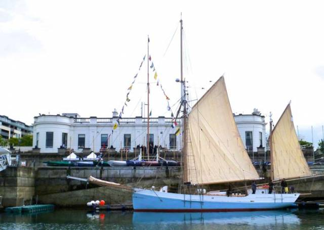 Ninety-three years after she was briefly a member of the fleet of the Royal Irish Yacht Club in Dun Laoghaire, the restored ketch Ilen visited the historic clubhouse for a special reception this weekend
