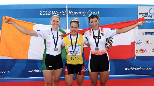 Sanita Puspure (silver) on the podium in Belgrade with Jeannine Gmelin (gold) and Magdalena Lobnig (bronze).