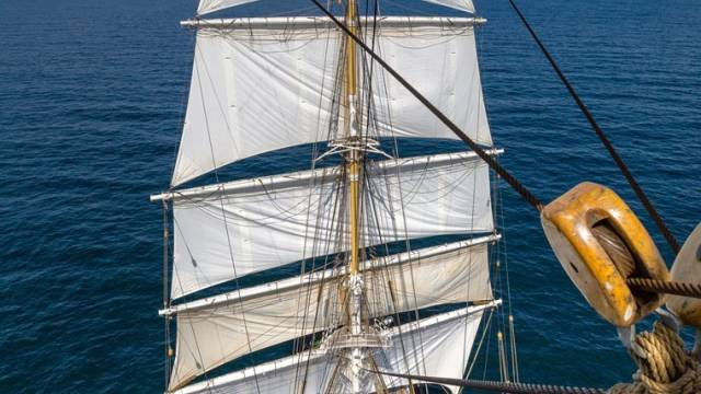 Close up of Norway's largest and oldest tall ship, Statsraad Lehmkuhl which is calling to Dublin Port as part of Heritage Week, and will be open for visitors next Saturday, 20 August (2-4pm)