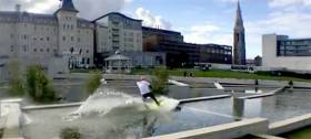 Water feature – David O'Caoimh wakeboards through Dun Laoghaire's new lexicon water feature. See full video below.