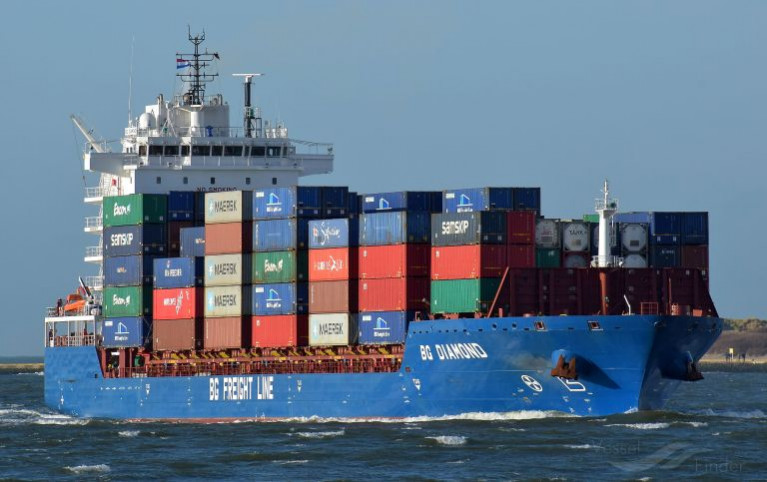 BG Freight Line (a subsidiary of Peel Ports Group) which has introduced a new tri-weekly Dublin-Liverpool service to meet growing demand on the Irish Sea.  Above AFLOAT adds it the containership BG Diamond.