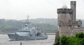 LÉ Samuel Beckett seen underway heading upriver off Blackrock Castle to Cork City-centre quays.