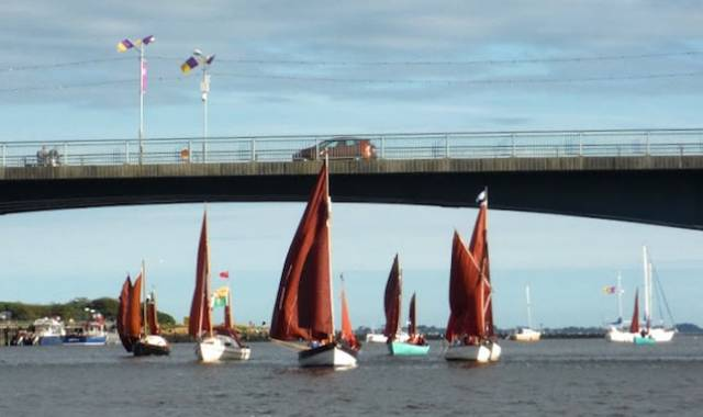 Upriver under the bridge at Wexford – Drascombes can do it, but tall-rigged cruisers have to stay beyond on the seaward side