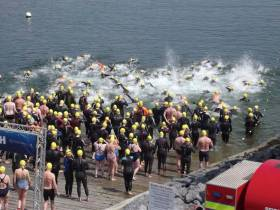 Taking to the water at the start of the 2016 Dunmore East RNLI Open Water Swim