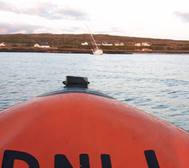 A view of the yacht aground at Kilronan from the bow of the lifeboat