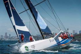 "Ludde Ingvall's extremely individual 98ft CQS aboard which Ireland's 2013 ""Sailor of the Year"" David Kenefick of Cork will be racing the RORC Transatlantic"