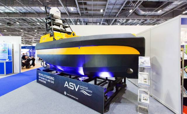An unmanned vessel for gas and oil exploration at the show