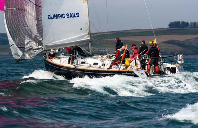 Tom Roche's Meridian surfs downwind off Kinsale