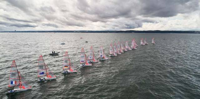 The Girls 29er class start a race of the Youth World sailing championships
