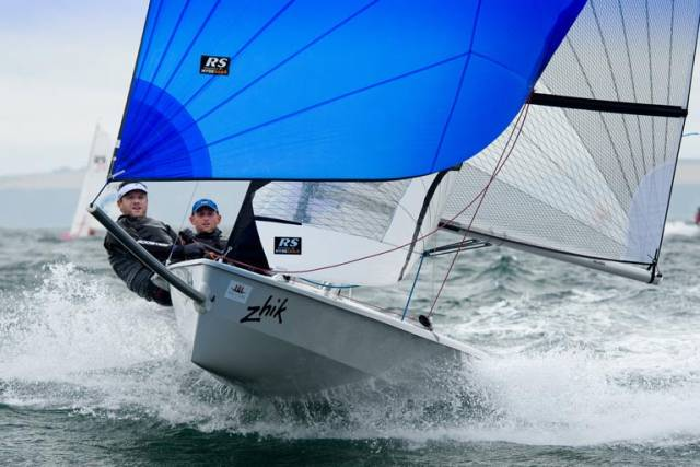 RS400 sailors Alex Barry and Richard Leonard at full tilt in Cork Harbour