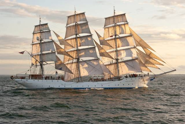 The fully rigged Norwegian tallship, Christian Radich which next year celebrates her 80th anniversary is at anchorage in Cork Harbour
