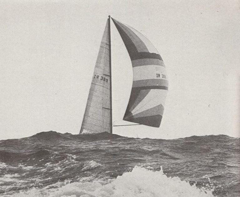 "The start of a very special relationship. Denis Doyle's Moonduster approaches the finish of the 1982 Round Ireland Race to take line honours, a new course record, and the handicap win. Today's Round Ireland crews, faced with a two month postponement of the start date, will be asking: ""What would The Doyler do?"""
