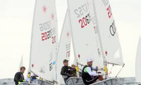 James Espey (centre) at this week's Laser Europeans
