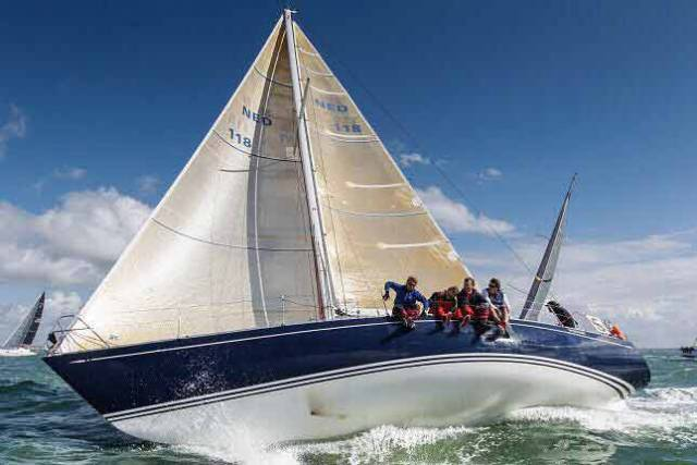 Harry Heijst's classic S&S 41 Winsome racing in Cowes Week 2017. With Laura Dillon as lead helm, Winsome is among the front runners in the current Rolex Fastnet Race