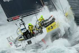 Team Brunel are battling to keep MAPFRE astern and take the Leg 10 victory tonight