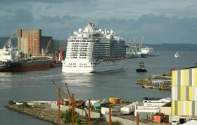 Royal Princess which featured in the ITV series 'The Cruise' is as Afloat adds is seen above in Belfast Harbour which is expected to welcome 117 cruise calls this year.  In the immediate foreground to the right can be partially seen the Titanic Studies.
