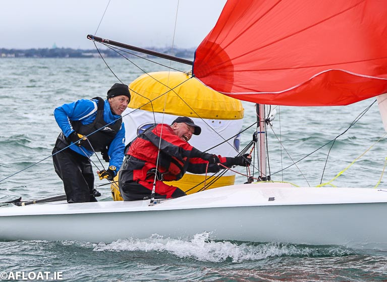 David Mulvin and Ronan Beirne of the National Yacht Club finished fourth in Cormac Bradley's imaginary opening race of the DBSC Flying Fifteen season last Thursday evening