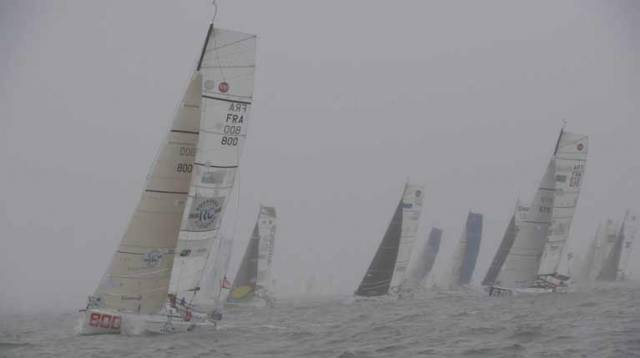The persistent drizzle and low cloud did little to cheer those Mini sailors at the start of the Mini–Transat yesterday