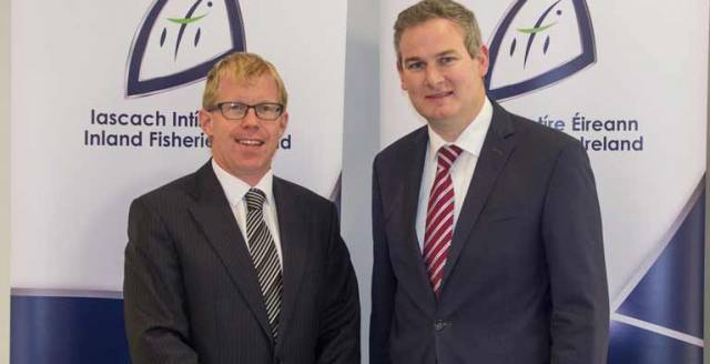 Inland Fisheries Ireland CEO Ciaran Byrne (left) with Minister Sean Kyne at Inland Fisheries Ireland Citywest offices