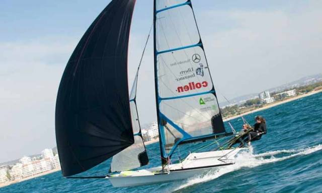 Annalise Murphy and Katie Tingle sailing at their Vilamoura base in Portugal