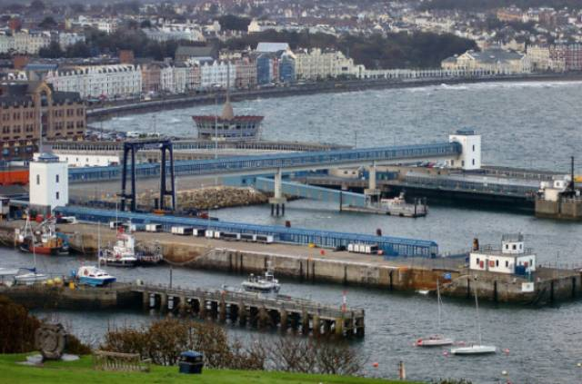 A close up view of Douglas Harbour's ferry terminal and visible (on the left), one of two ro-ro ramp linkspans and associated covered passenger walkways.