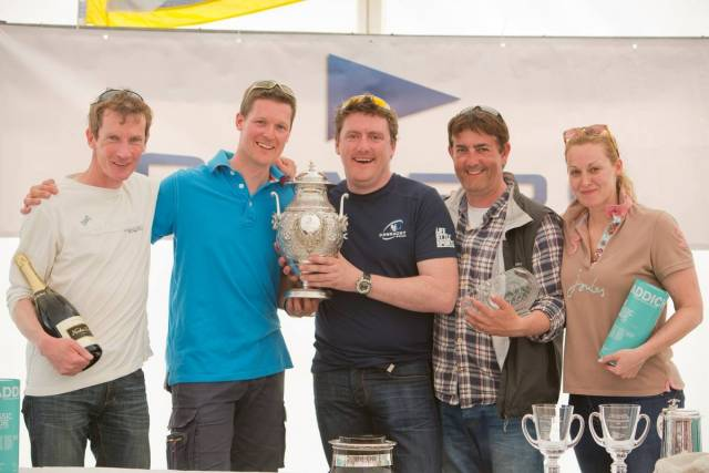 Dara O'Malley (in connacht T-shirt ) and his crew in on their Hunter 707 Seaword afte rtheir overall victory in the Silvers Marine Scottish Series at Tarbert this week