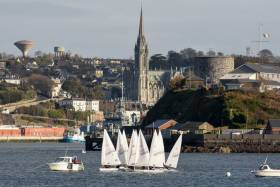 The Monkstown Laser League fleet jostle for position at the start of one of yesterday's three races in Cork Harbour