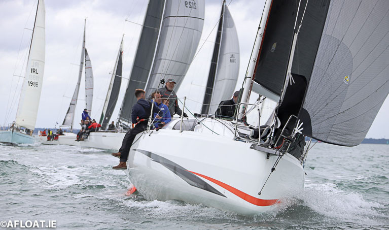 Cian McCarthy's Cinamonn Girl from Kinsale is front row after the 1pm start today of the Fastnet 450 Race on Dublin Bay