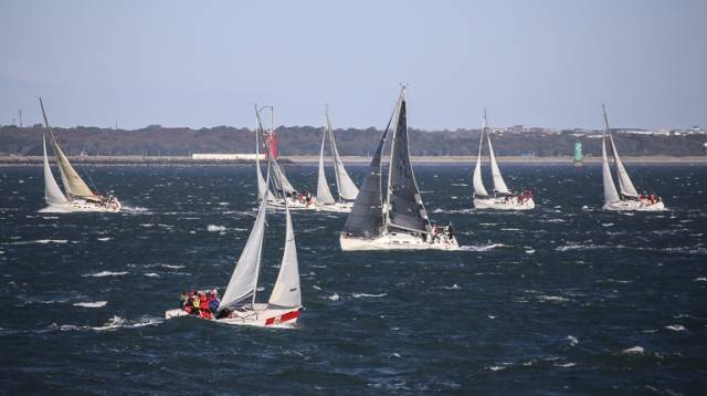 Blustery conditions for the first race of the Turkey Shoot on Dublin Bay