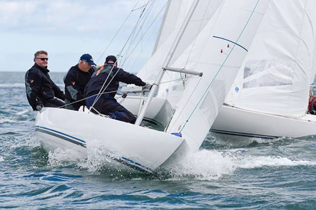 Jaguar sailed by Martin Byrne, Adam Winkelmann and Donal Small lead the Cantor Fitzgerald Dragon National Championships at Kinsale. Scroll down for photo gallery