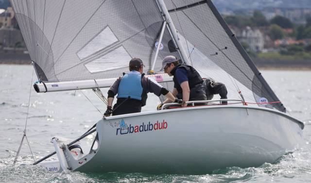 Rubadubdub sailed by Nick Doherty,Conor O'Regan and Gareth Nolan of the NYC are in ninth place