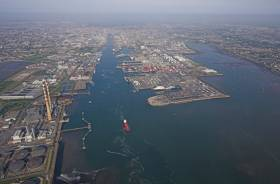 View looking west of Dublin Port