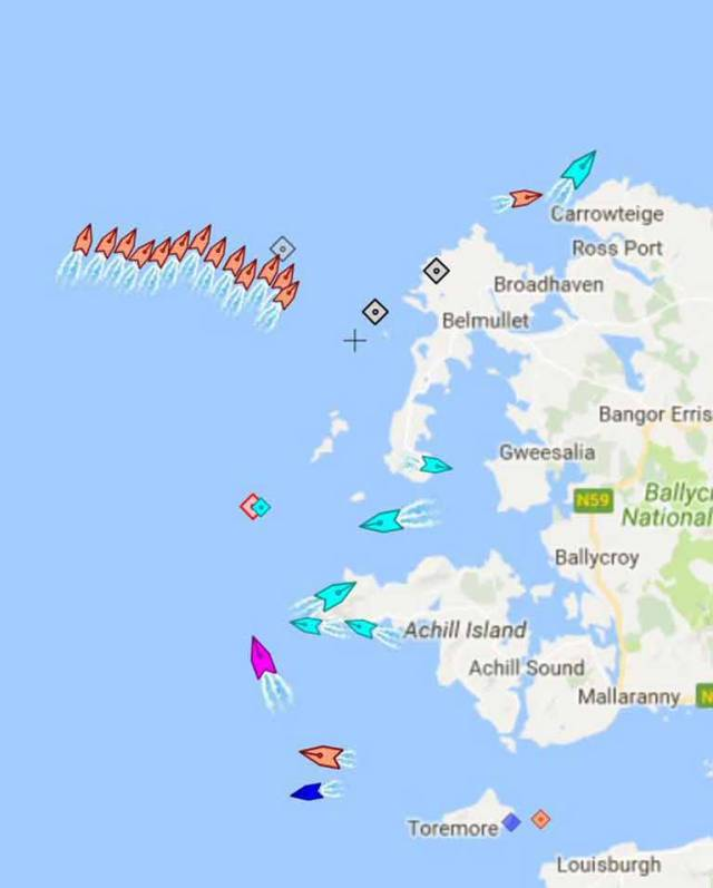 A screen grab showing boats involved in this morning's #R116 search off the Mayo coast