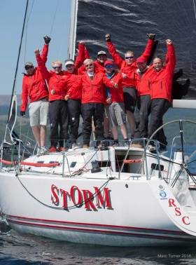 "Team Storm celebrate in Tarbert. Paddy Kelly, David Kelly (Jnr), Lauren O'Hare, Pat Kelly, Alan Ruigrok, Cian Hickey, David Kelly, Paul Kelly, Patrick Boardman (missing from photo- Paul O'Hare & Ronan Kelly)'Team Storm' had one simple quote to sum up there Scottish Series victory, "" we're not here to win, we're here to take over."""