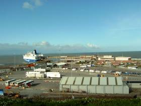 Ferry Oscar Wilde berthed at Rosslare Europort