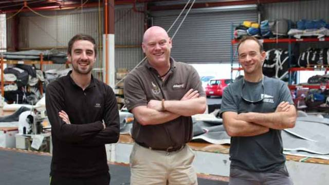 New sail loft for Galway (from L to R) Sales Consultant Evan O'Connor, Managing Director Donal Small and Director/Loft Manager Yannick Lemonnier on their visit to the Doyle Sails HQ in Auckland, New Zealand