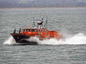 Wicklow RNLI's all-weather lifeboat returning after the callout