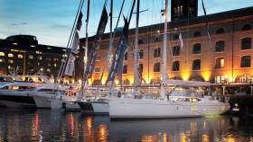 Luxury yachts berthed at St Katherine Dock for the London On-Water Boat Show - relaunching in 2019 as the London Yacht Show