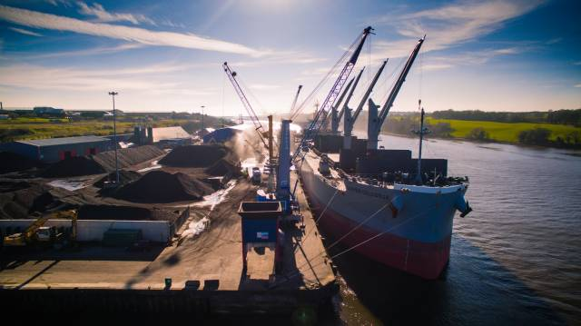 A record turnover of £10m was achieved at Foyle Port during 2018/19. Above: Afloat adds is the bulk-carrier Clover Colossus berthed at Lisahally, the port's main terminal located downriver of Derry city.